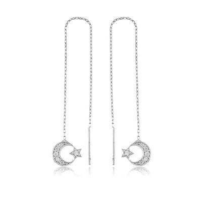 Tekbir Silver - Gümüş Zincirli Ay Yıldız Küpe
