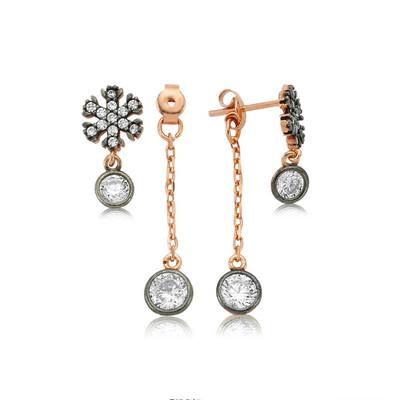 Tekbir Silver - Gümüş Zincirli Kar Tanesi Bayan Küpe