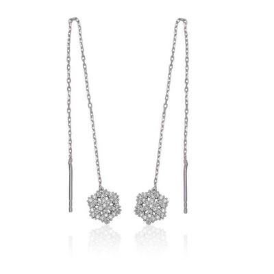 Tekbir Silver - Gümüş Zincirli Kar Tanesi Küpe