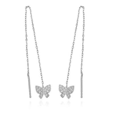 Tekbir Silver - Gümüş Zincirli Kelebek Küpe (1)