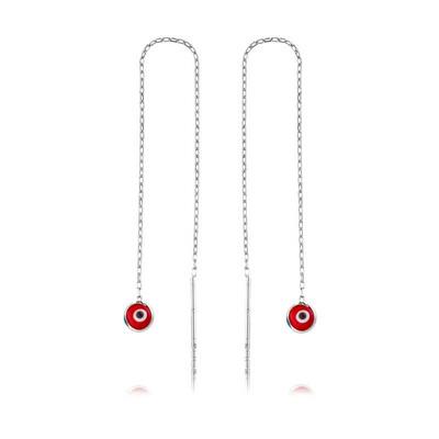 Tekbir Silver - Gümüş Zincirli Kırmızı Nazar Küpe