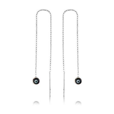 Tekbir Silver - Gümüş Zincirli Siyah Nazar Küpe