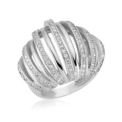 Tekbir Silver - Gümüş Zirkon Taşlı Bombeli Bayan Yüzük