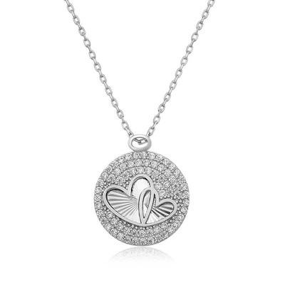 Tekbir Silver - Gümüş Zirkon Taşlı İki Kalp Bayan Kolye