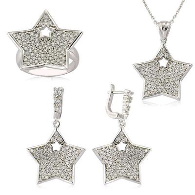 Tekbir Silver - Gümüş Zirkon Taşlı Yıldız Bayan Set