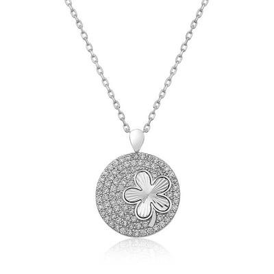 Tekbir Silver - Gümüş Zirkon Taşlı Yonca Bayan Kolye