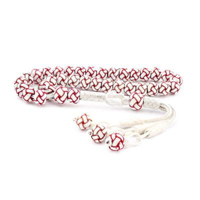 Tekbir Silver - Kırmızı Beyaz Gümüş Trabzon Kazaziye Tesbih