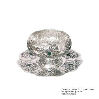 Tekbir Silver - Lale Desenli Gümüş Boller