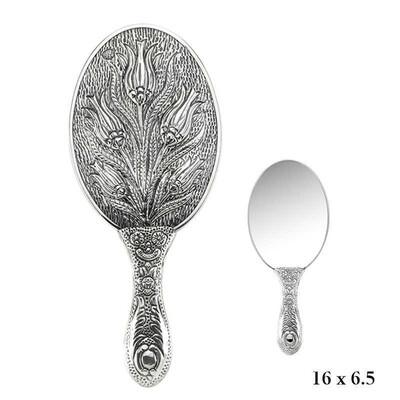 Tekbir Silver - Lale Motifli El Aynası