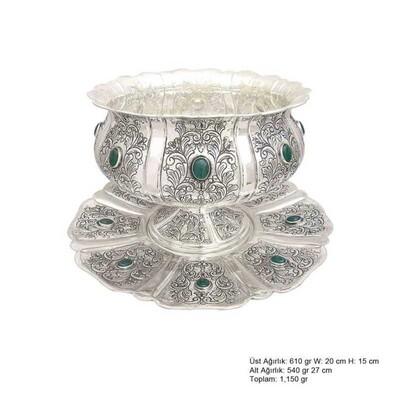 Tekbir Silver - Lale Motifli Gümüş Boller
