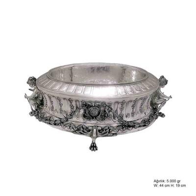 Tekbir Silver - Lale Motifli Gümüş Jardinyer
