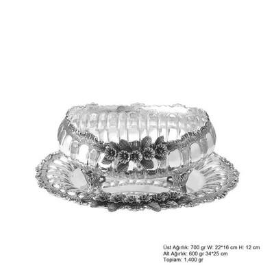 Tekbir Silver - Orkide Desenli Gümüş Boller