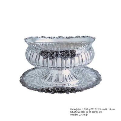 Tekbir Silver - Orkide Motifli Gümüş Boller
