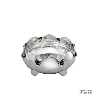 Tekbir Silver - Orkide Motifli Gümüş Şekerlik