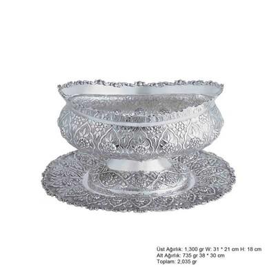 Tekbir Silver - Papatya Desenli Oval Gümüş Boller
