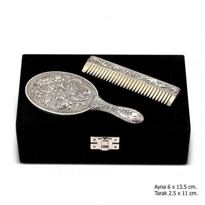 Tekbir Silver - Papatya Motifli Ayna Tarak Gümüş Set