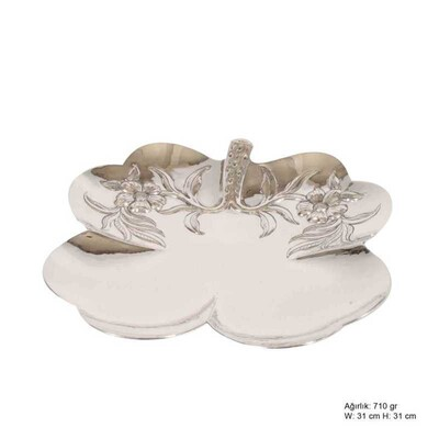 Tekbir Silver - Papatya Motifli Gümüş Tabak