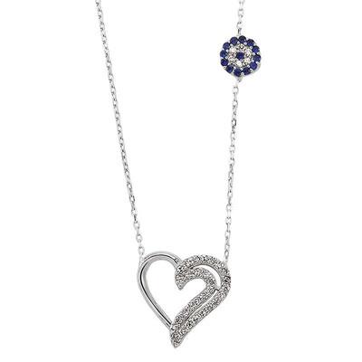 Tekbir Silver - Zirkon Taşlı Gümüş Kalp Kolye